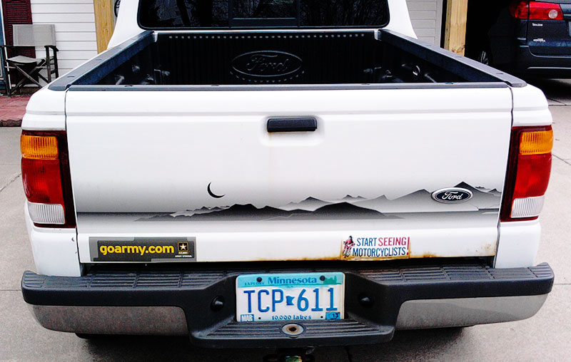The license plate on Ty's Ford Ranger read TCP-611 or 'Internet Servant' before he realized he would become a minister that used the Internet as a primary ministry tool